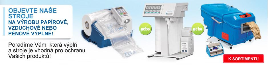 Objevte naše stroje na výrobu papírové, vzduchové nebo pěnové výplně!